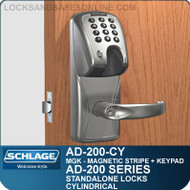 Schlage AD-200-CY - Standalone Cylindrical Locks - Magnetic Stripe (Insert) + Keypad