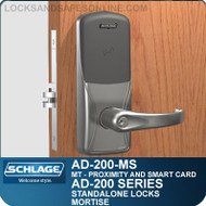 Schlage AD-200-MS - Standalone Mortise Locks - Multi-Technology | Proximity and Smart Card