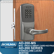 Schlage AD-200-MS - Standalone Mortise Locks - Multi-Technology + Keypad | Proximity and Smart Card