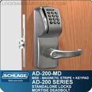 Schlage AD-200-MD - Standalone Mortise Deadbolt Locks - Magnetic Stripe (Swipe) + Keypad