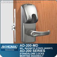 Schlage AD-200-MD - Standalone Mortise Deadbolt Locks - Magnetic Stripe (Insert)