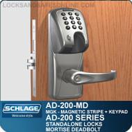 Schlage AD-200-MD - Standalone Mortise Deadbolt Locks - Magnetic Stripe (Insert) + Keypad