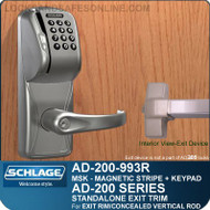 Schlage AD-200-993R - Standalone Exit Trim - Exit Rim/Concealed Vertical Rod/Concealed Vertical Cable - Magnetic Stripe (Swipe) + Keypad