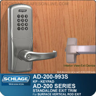 Schlage AD-200-993S - Standalone Exit Trim - Exit Surface Vertical Rod - Keypad