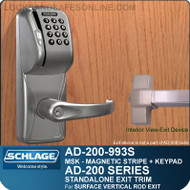 Schlage AD-200-993S - Standalone Exit Trim - Exit Surface Vertical Rod - Magnetic Stripe (Swipe) + Keypad