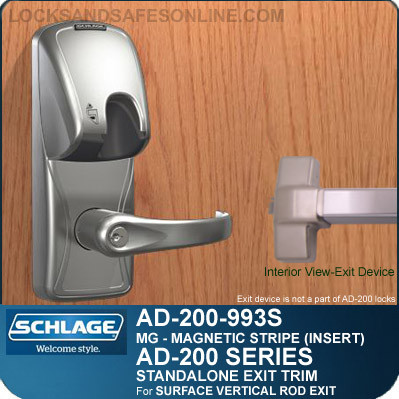 Schlage AD-200-993S - Standalone Exit Trim - Exit Surface Vertical Rod - Magnetic Stripe (Insert)