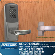 Schlage AD-201-993M - Standalone Exit Trim - Exit Mortise Lock - FMK (FIPS 201-1 Multi-Technology + Keypad | Proximity and Smart Card)