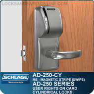 Schlage AD-250-CY - User Rights on Card - Cylindrical Locks with Magnetic Stripe (Swipe)