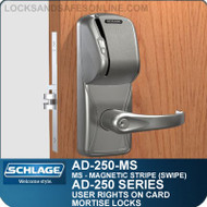 Schlage AD-250-MS - User Rights on Card - Mortise Locks with Magnetic Stripe (Swipe)