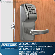 Schlage AD-250-MS - User Rights on Card - Mortise Locks with Magnetic Stripe (Swipe) + Keypad