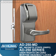 Schlage AD-250-MD - User Rights on Card - Mortise Deadbolt Locks with Magnetic Stripe (Swipe)