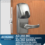 Schlage AD-250-MD - User Rights on Card - Mortise Deadbolt Locks with Magnetic Stripe (Insert)