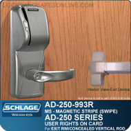 Schlage AD-250-993R - User Rights on Card - Exit Trim with Magnetic Stripe (Swipe) - Exit Rim/Concealed Vertical Rod/Concealed Vertical Cable