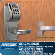 Schlage AD-250-993R - User Rights on Card - Exit Trim with Magnetic Stripe (Swipe) + Keypad - Exit Rim/Concealed Vertical Rod/Concealed Vertical Cable