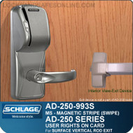 Schlage AD-250-993S - User Rights on Card - Exit Trim with Magnetic Stripe (Swipe) - Exit Surface Vertical Rod