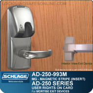 Schlage AD-250-993M - User Rights on Card - Exit Trim with Magnetic Stripe (Insert) - Exit Mortise Lock
