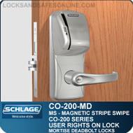 Standalone Magnetic Stripe Swipe Locks | Schlage CO-200-Mortise Deadbolt