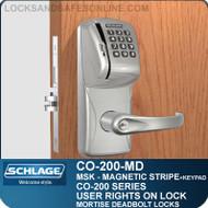 Standalone Magnetic Stripe Swipe Locks with Keypad | Schlage CO-200-Mortise Deadbolt