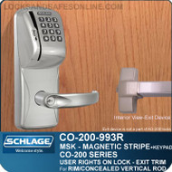 Exit Trim with Magnetic Stripe Swipe and Keypad Reader | Schlage CO-200-993R - Exit Rim/Concealed Vertical Rod/Concealed Vertical Cable | User Rights on Lock