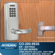 Schlage CO-200-993S - Exit Surface Vertical Rod | Electronic Exit Trim with Keypad Reader  | User Rights on Lock