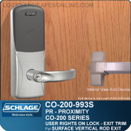 Exit Trim with Proximity Reader | Schlage CO-200-993S - Exit Surface Vertical Rod | User Rights on Lock