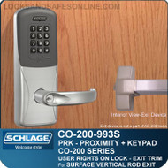 Exit Trim with Proximity and Keypad Reader | Schlage CO-200-993S - Exit Surface Vertical Rod | User Rights on Lock
