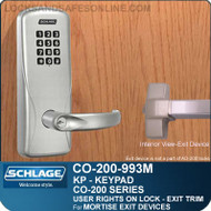 Schlage CO-200-993M - Exit Mortise Lock | Electronic Exit Trim with Keypad Reader | User Rights on Lock