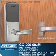 Exit Trim with Proximity Reader | Schlage CO-200-993M - Exit Mortise Lock | User Rights on Lock