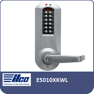 The E-Plex 5000 Electronic Pushbutton Lock Series provides exterior access by combination, while allowing free egress. This electronic pushbutton lock eliminates problems and costs associated with issuing, controlling, and collecting keys and cards, has up to 1000 Access Codes and is programmed via keypad or with optional Microsoft Excel-based software.