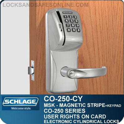schlage keypad locks. Cylindrical Magnetic Stripe Swipe \u0026 Keypad Locks | Schlage CO-250-CY User