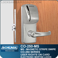 Mortise Magnetic Stripe Swipe Locks | Schlage CO-250-MS | User Rights on Card