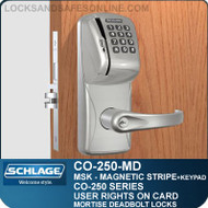 Mortise Deadbolt Magnetic Stripe Swipe & Keypad Locks | Schlage CO-250-MD | User Rights on Card