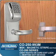 Mortise Exit Locks - Schlage CO-250-993M-MSK  | Exit Trim with Magnetic Stripe Swipe & Keypad Locks | User Rights on Card