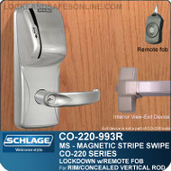 Exit Trim with Magnetic Stripe Swipe Locks | Schlage CO-220-993R-MS - Exit Rim/Concealed Vertical Rod/Concealed Vertical Cable | Classroom Lockdown Solution