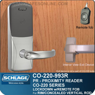 Schlage CO-220-993R-PR - Exit Rim/Concealed Vertical Rod/Concealed Vertical Cable | Exit Trim with Proximity Reader |Classroom Lockdown Solution