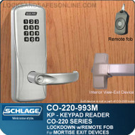 Exit Trim with Electronic Keypad Reader | Schlage CO-220-993M-KP - Exit Mortise Lock | Classroom Lockdown Solution