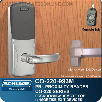 Exit Trim with Proximity Reader | Schlage CO-220-993M-PR - Exit Mortise Lock | Classroom Lockdown Solution