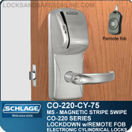 Cylindrical Magnetic Stripe Swipe Locks | Schlage CO-220-CY-75-MS | Classroom Lockdown Solution