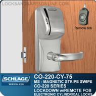 Cylindrical Magnetic Stripe Swipe Locks | Schlage CO-220-CY-75-MS | Classroom Lockdown Solution