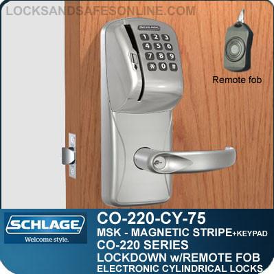 Cylindrical Magnetic Stripe Swipe & Keypad Locks | Schlage CO-220-CY-75-MSK | Classroom Lockdown Solution