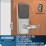 Cylindrical Proximity Locks | Schlage CO-220-CY-75-PR | Classroom Lockdown Solution