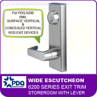 PDQ 6200 Wide Escutcheon Trim - Storeroom with Lever - For Rim, Surface Vertical and Concealed Vertical Rod Exit Devices