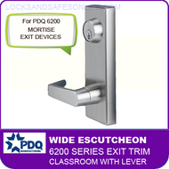 PDQ 6200 Wide Escutcheon Trim - Classroom with Lever - For Mortise Exit Devices