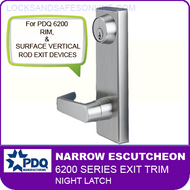 PDQ 6200 Narrow Escutcheon Trim - Night Latch - For Rim and Surface Vertical Rod Exit Devices
