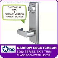 PDQ 6200 Narrow Escutcheon Trim - Classroom with Lever - For Rim and Surface Vertical Rod Exit Devices