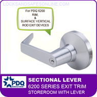 PDQ 6200 Sectional Trim - Storeroom with Lever - For Rim and Surface Vertical Rod Exit Devices