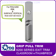 PDQ 6200 Grip Pull Trim - Classroom with Thumbpiece - For Rim and Surface Vertical Rod Exit Devices