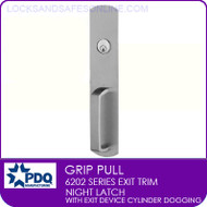PDQ 6202 Grip Pull Trim | Night Latch with Exit Device Cylinder Dogging