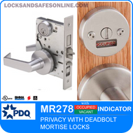 Privacy Mortise Lock with Deadbolt and Indicator | PDQ MR278