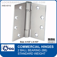 "PDQ Commercial Hinges | A5112 - 2 Ball Bearing (4-1/2""x4-1/2"")"
